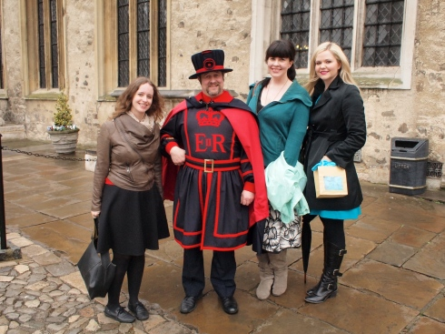 Me, The Ravenmaster, Caitlin Doughty, and poor Dr. Lindsey Fitzharris the peg-leg.