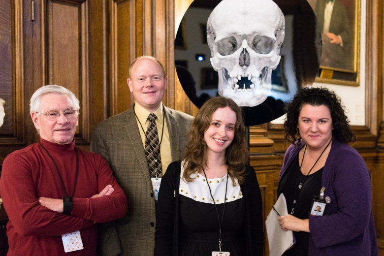 The Anthropodermic Books Project team: Chemists Daniel Kirby & Richard Hark, Megan Rosenbloom, & Mutter Museum curator Anna Dhody. Photo  by Scott Troyan.